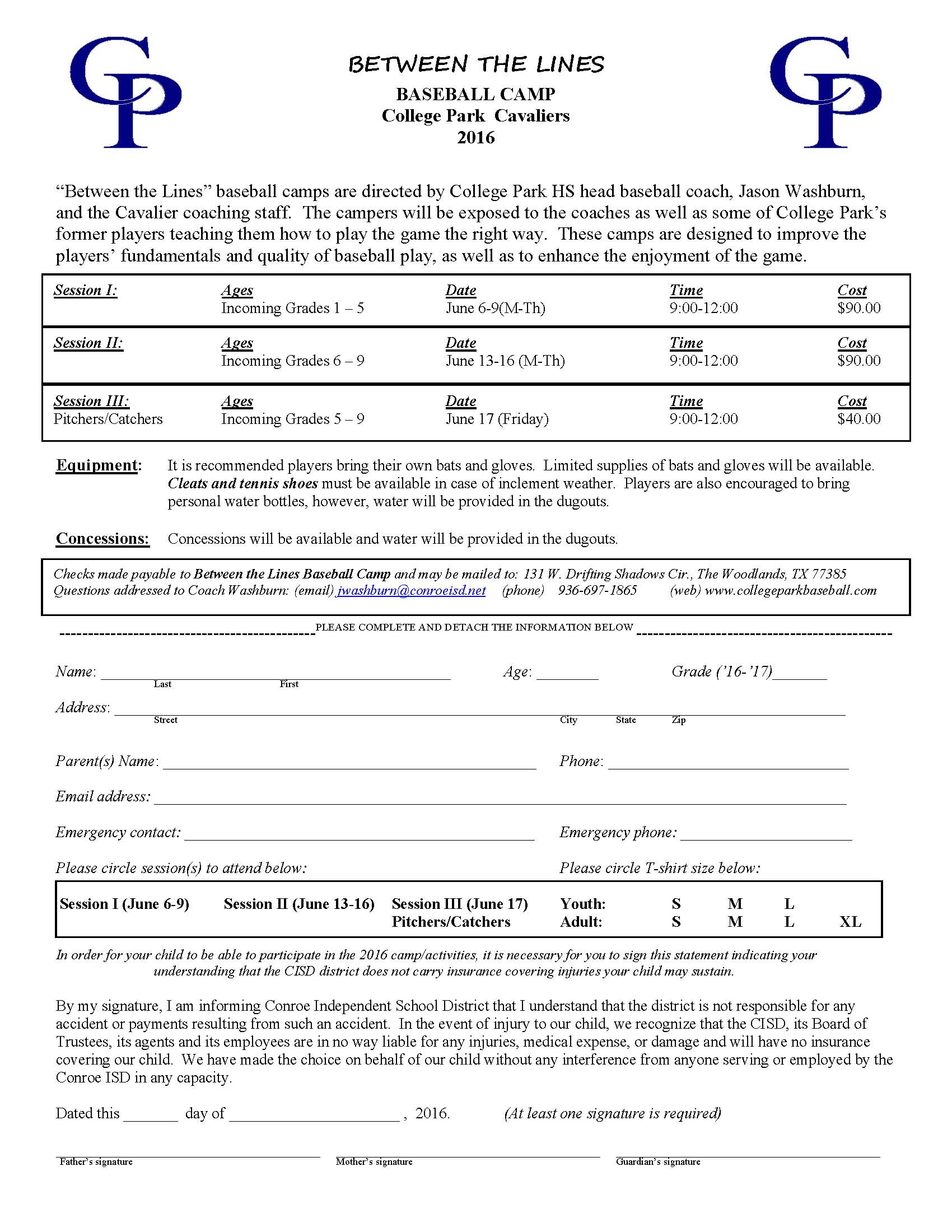 2016 College Park Baseball camp